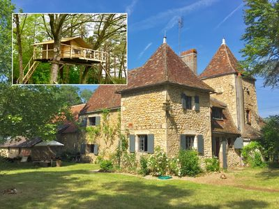 Photo for Comfortable French Manor + a great treehouse in a protected natural area.
