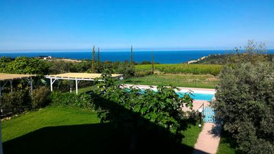 Photo for Villa with pool and garden overlooking the sea-mountains 3 km from the sea, ideal for families