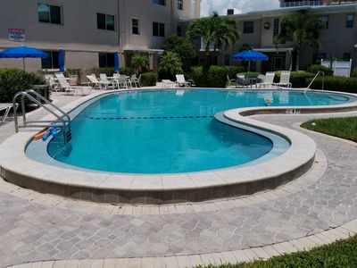 Photo for Relaxing 1 BR first floor condo walk out to pool and steps from the beach