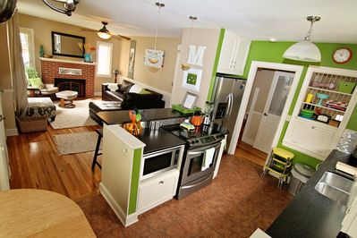 The kitchen is open to the dining area and living room for easy enjoyment.