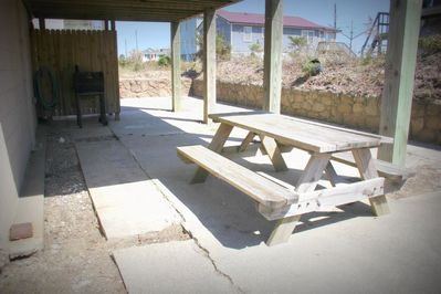 Picnic table great for enjoying a summer cookout!