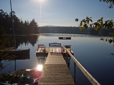 View of Sargent and Cadillac Mountains from the dock