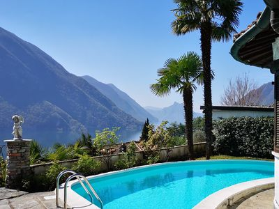 Photo for Your villa with heated pool, private beach access and wonderful lake view