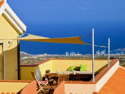 Photo for Modern studio with a sunny roof terrace - views of the sea and mountains, brine pool