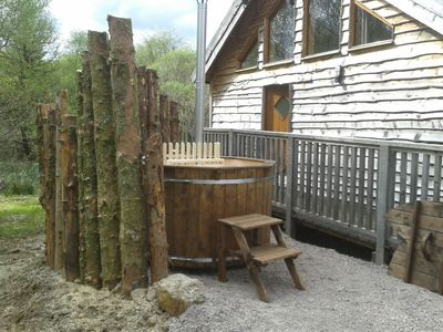 Scandinavian wood fuwelled hot tub