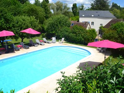 Photo for Three Loire Valley cottages with exclusive carp fishing lake & huge heated pool