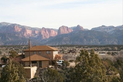 View of the house from across our property with Kolob Canyon in the background.