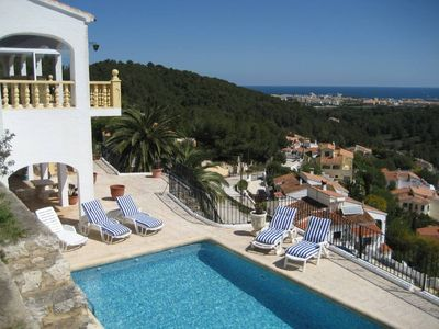 Photo for Javea : villa 250m², private swimming pool, sea and mountain view, large terraces, BBQ