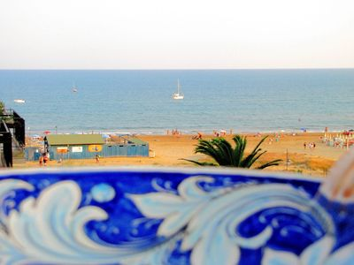 Photo for CaseSicule: Mirto, Sea View Apartment with Veranda and Terrace, 50 mt from the Beach, Wi-Fi