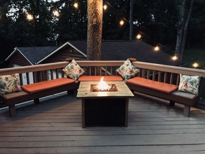Back deck with fire table