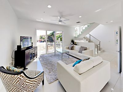 Photo for Elegant Ultra-modern 4BR/3.5BA w/ Pool & Hot Tub – Steps to the Beach!