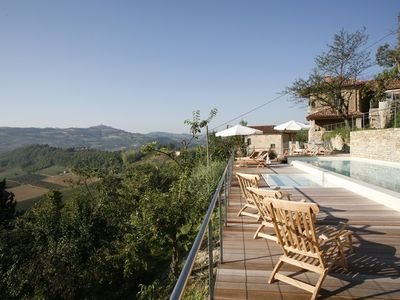 Photo for Dream house with pool at the best viewpoint above the historic village centre