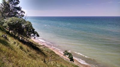 Photo for Secluded new log cabin in Manistee National Forest with Lake Michigan viewing