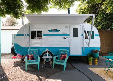 Retro RV by the Sea- Have a Vintage Vacation! - Ocean Beach on trailer homes, aretha's homes, retro park model homes, vintage homes, retro buses, retro motorcycles, retro furniture, 900 square foot homes, retro tile, one level homes, retro boats,