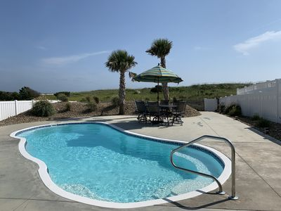 One of the largest, private pools on the Island!  Easy entry steps, palm trees!