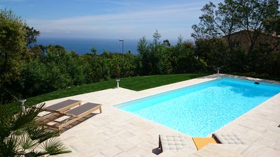 Photo for Panoramic sea view house with private heated pool