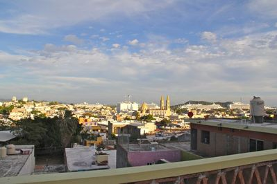 View of Centro and cathedral from front of patio