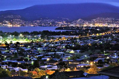Enjoy views of Hobart & beyond by  night when you stay at Charbella's.