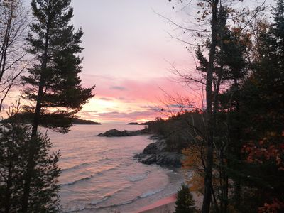 Photo for Quiet, isolated oasis on 300 feet of Lake Superior beach and 10 wooded acres.