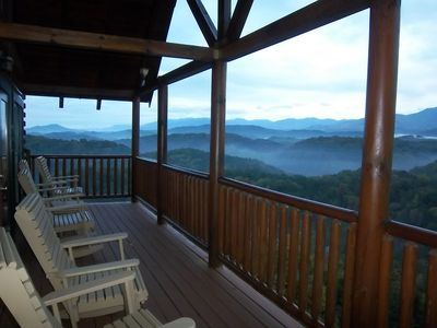 A Classic Smoky Mountain sunrise viewed from deck