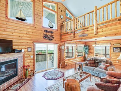 Photo for Cozy cabin w/ great lake view & wrap-around deck - near golf and Bear Lake!