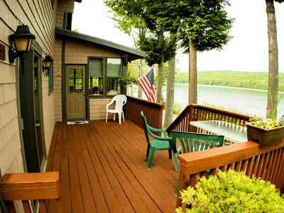 Front deck with stairs down to the lake