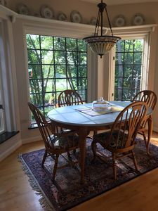 Breakfast nook with views of wildlife right outside window.