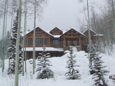 Winter Wonderland, front view of the home with 24 inches of fresh powder