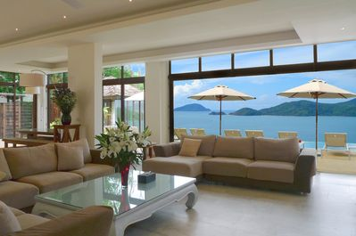 The huge 170sqm open-plan living room has stunning sea views and high ceilings..
