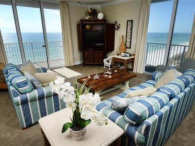 Photo for Beach-chic corner condo ! Gorgeous gulf views! Free DVD rentals! Minutes to Pier Park!