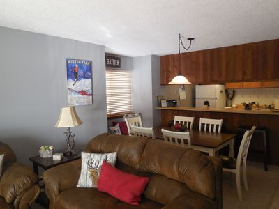 Photo for New Updates! Great ski condo, family friendly, cozy. Pool/spa, Wifi, ski shuttle