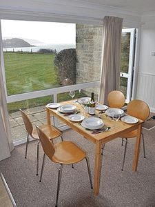 Dining with view to Colwell Bay and the Needles