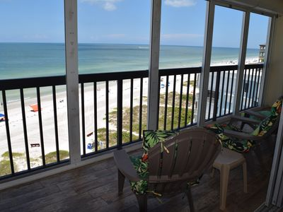 Photo for Beach Front Condo, Beautiful Sunsets, Remote Work Ready, Spacious Balcony