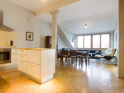 Photo for Praha Park Loft apartment in Vinohrady with WiFi, integrated air conditioning (hot / cold) & lift.