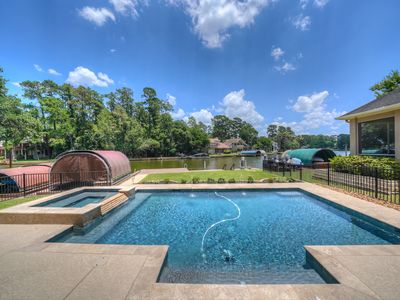 Photo for Gorgeous Lakefront Home w/Pool and Spa on quite/protected cove on Lake Conroe