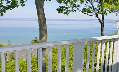Breathtaking views of Lake Michigan from the deck.