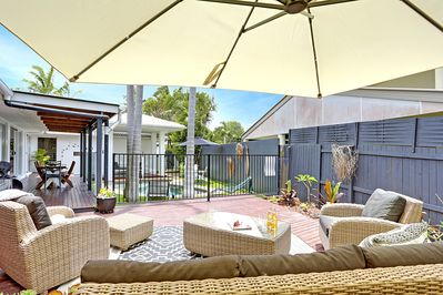 Plenty of outdoor area choices to relax and catch up on your holiday novel