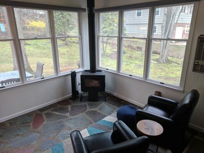 Wood stove in the sunroom