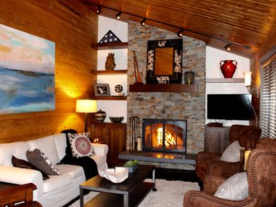 Photo for Updated Beautiful Cabin, 5 star reviews, bikes included, Outdoor fire table!