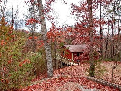Photo for FREE ATTRACTION TICKETS, Romantic Cabin, Pretty Views Hot Tub & Heart Jacuzzi