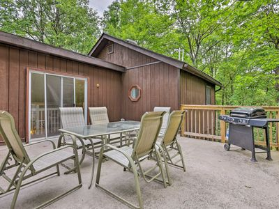 Photo for Cabin w/ Fire Pit & Decks - Walk to Lake Harmony!