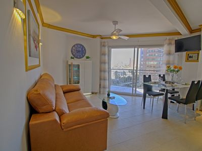 Photo for Coquettish and modern apartment with sea views, 250 meters from the beach.