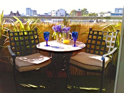 Balcony offers a chance to enjoy a drink or meal alfresco, watching over London