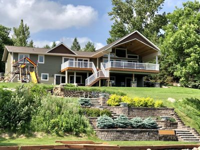 Photo for Luxury Lake Home with large Covered Deck Sleeps 15 - 22 Feet Pontoon Included