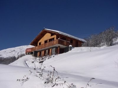 Photo for Faced with Arcs and La Plagne, very nice cottage with pool summer