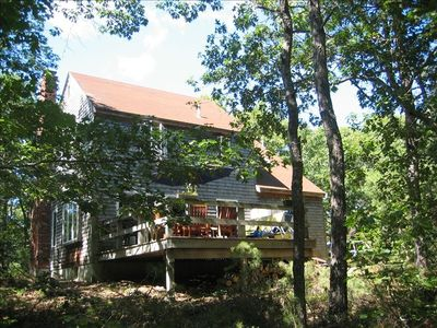 Back of house, private deck & wooded property