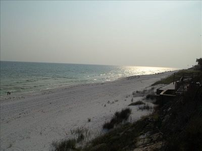 Private beach at sunset for Seabreeze residents