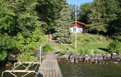 Welcome to Loon Nest- view of the cabin from the dock and shore station.