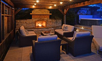Ledge Stone Gas Fireplace, Party Lights with Edison Bulbs