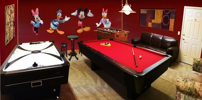 Game Room with Billiards, Air Hockey, Darts, PS3, Foosball, Ping Pong - with AC
